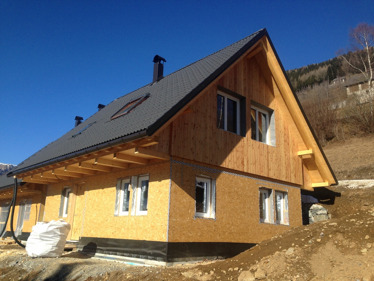 Kaning, Gemeinde Radenthein, Kaernten, Neubau Holzhaus